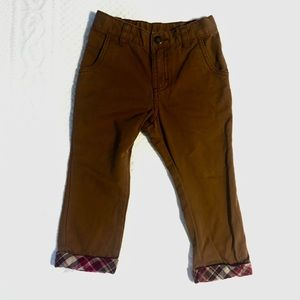 Genuine Kids by OshKosh Khaki Pants w/ Plaid Ankle
